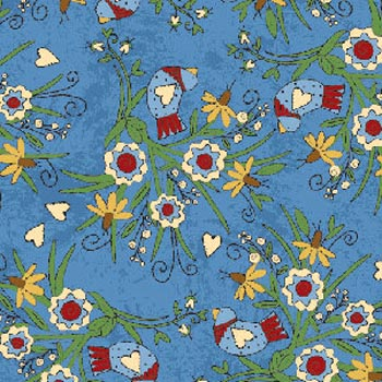 Charming Sue by Henry Glass - Tiny Hearts, Birds & Flowers Blue