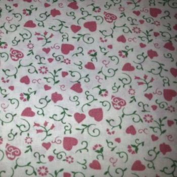 1303 Rose Pink Hearts With Flower Vines