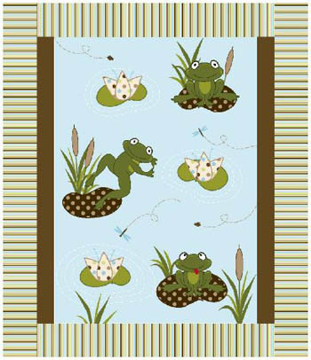 3D Nursery - Frogs on a Lily Pond - Applique Flannel Cot Panel