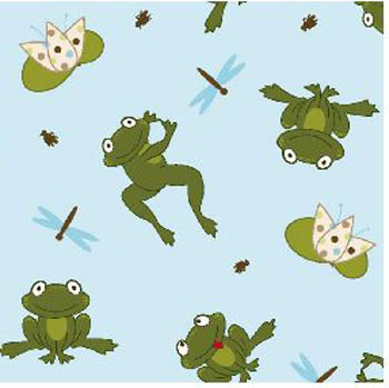 3D Nursery - Frogs on a Lily Pond Flannel Fabric