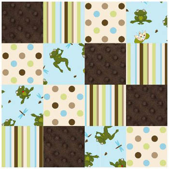 3D Nursery - Frogs Patchwork Flannel /Cuddle Fabric - per Metre