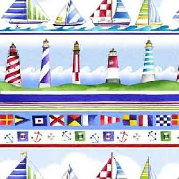 By The Sea by Henry Glass - Sailing Boat/Lighthouse Stripe