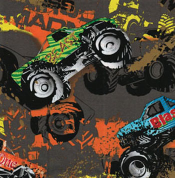 Cars planes trains etc jb quilting fabrics for Monster truck fabric