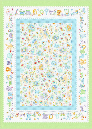 Baby Boy Cotton Flannel Fabric by Marcus - Baby Boy Panel