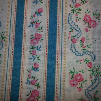 Blue Floral Stripe from Ebor Fabrics 765/04
