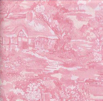 A Country Garden by Fabric Freedom Country Cottage Scenic Pink