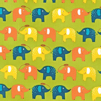 Playday by Robert Kaufman - Elephants Spring Green