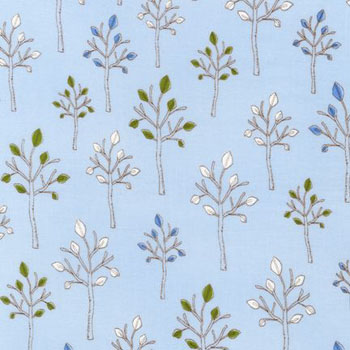 Playday by Robert Kaufman - Trees Summer Light Blue