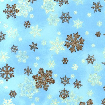 Alpine Frost - Snowflakes on Aqua Cotton Flannel Fabric