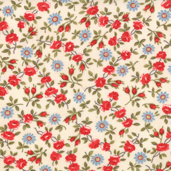 American Banner Rose by Moda - Dainty Floral Cream FQ