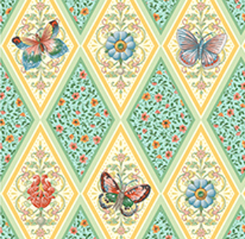 Flutter Fantasy by Quilting Treasures - Butterfly Diamonds Aqua