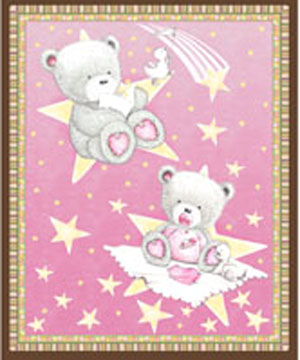 Popcorn Baby Bear Hugs Cot Panel/Wallhanging Pink - SHORT CUT