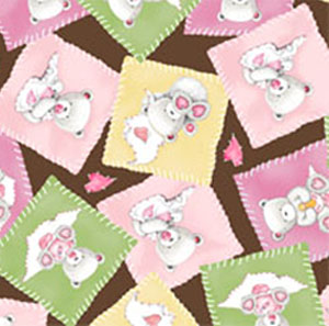 Popcorn Baby Bear Hugs by QT- Bear Patch Pink/Brown