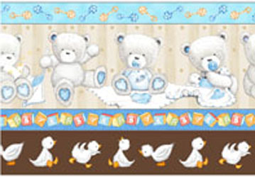 Popcorn Baby Bear Hugs by QT- Border Stripe Blue/Brown