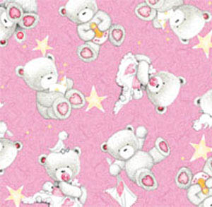 Popcorn Baby Bear Hugs by QT- Bears on Pink Flannel