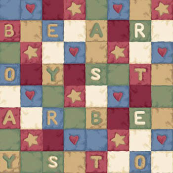 Blue Jean Teddy & Toys by Springs - Alphabet Patch/Quilt Blocks