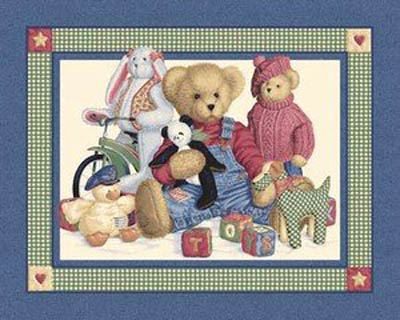 Blue Jean Teddy & Toys by Springs - Cot Panel/Wall Hanging