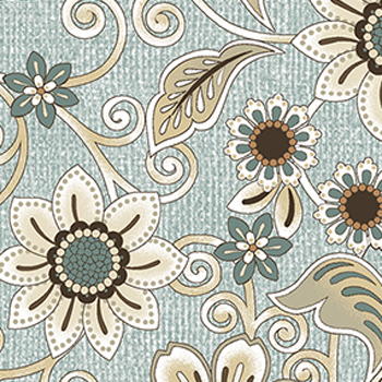 Burlap And Lace by Benartex - Burlap Floral Pale Fresca Blue