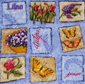 Butterfly Garden - Butterflies & Flowers Patch on Blue