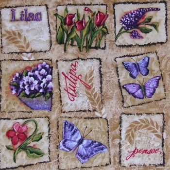 Butterfly Garden - Butterflies & Flowers Patch on Ecru/Tan