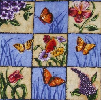 Butterfly Garden - Butterflies & Flowers on Check Blue/Ecru