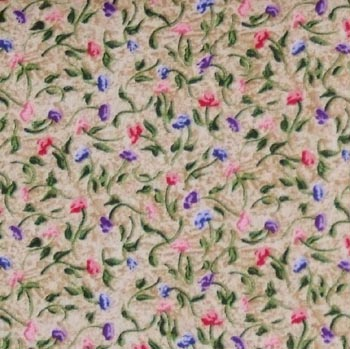 Butterfly Garden - Tiny Multi Floral on Ecru/Tan