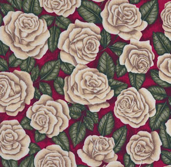 Classic Rose by Makower - Classic Cream Roses on Red