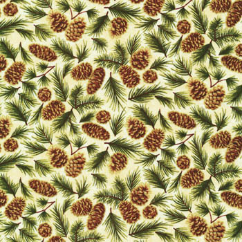 Celebrate The Season by Fabri-Quilt - Pinecones Cream