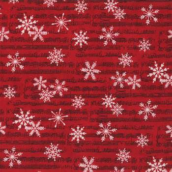 Christmas Countdown by Moda - Music Snowflakes Red