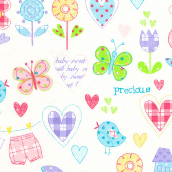 Cuddle Print Flannel - Nursery Sentiments Multi - 80CMS