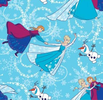 Disney Frozen Fabric - Sisters Ice Skating - Glitter Blue