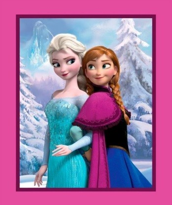 Disney Frozen Fabric - Sisters Elsa And Anna Snowy Scenic Panel