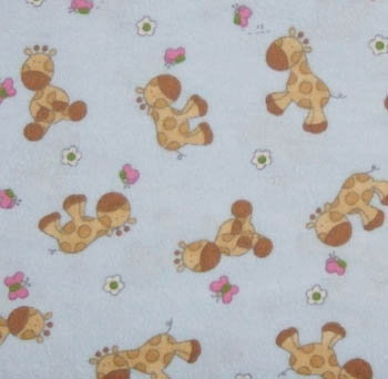 Giraffe Butterfly Blue 100% Cotton Flannel