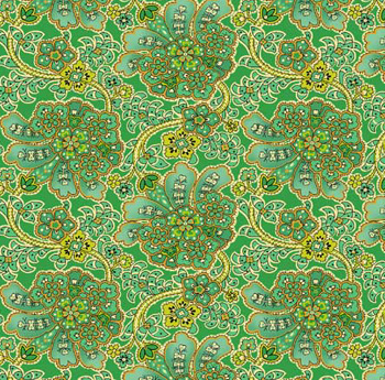 Maharaja by Quilting Treasures - Ethnic Floral Green Metallic