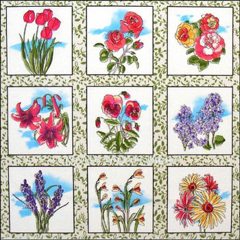 Fabri-Quilt Mixed Floral Blocks - 30 Blocks Panel