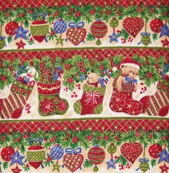 Seasons Greetings by Fabri-Quilt - Christmas Garland Stripe