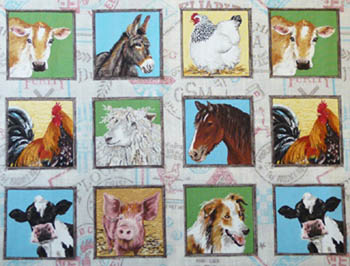 Farm by Makower Fabrics - Farm Animals Blocks/Labels