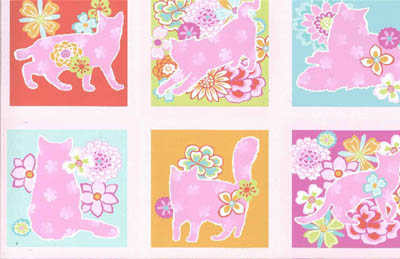 Feline Fancy by Fabri-Quilt - Pink Cats Floral Blocks Panel 24