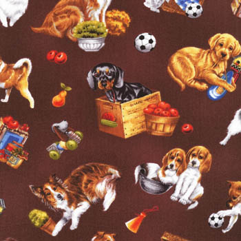 Furry Friends by Fabri-Quilt Fabrics - Dogs Chocolate
