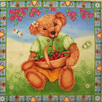 Garden Bear Cushion Panels by Makower - Set of 2 - SHORT CUT