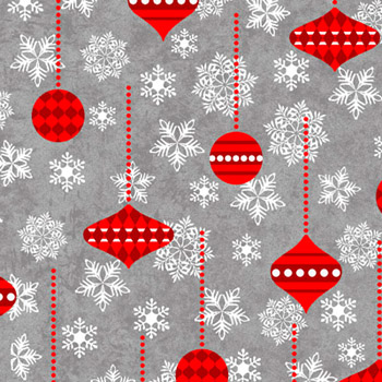 Holiday Frost by Henry Glass - Ornaments Red On Grey