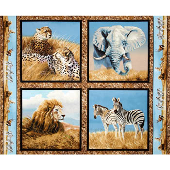 Kenyan Plains by Springs - Set of 4 Cushion Panels