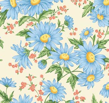 Daisies by VIP Cranston- Large Daisies Blue/Ecru