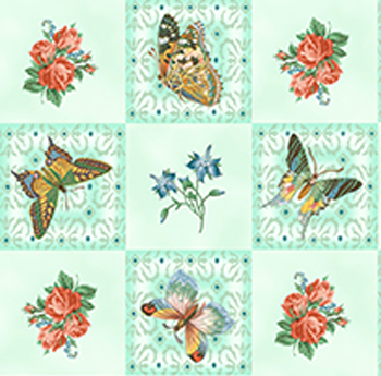 Flutter Fantasy by Quilting Treasures - Butterfly Patch Aqua