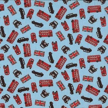 London by Makower Fabrics UK - London Buses Blue - 45CMS