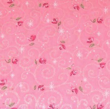 Make Believe by Fabric Traditions - Red Roses On Pink