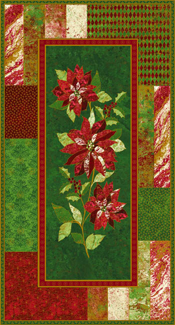 Marblehead Metallic Xmas - Poinsettia Panel