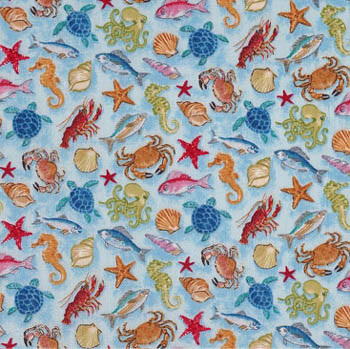 Nautical by Makower - Sea Creatures on Blue - 35CMS