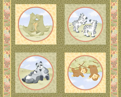 Noah's Ark Two of a Kind by Springs - Cushion Panels Set of 4