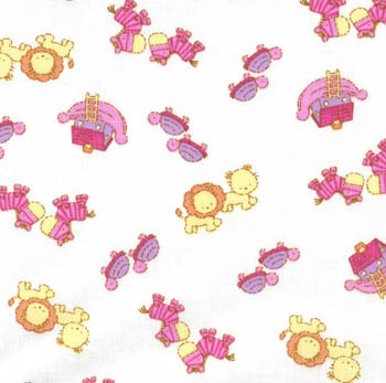 Nursery Time by Classic Cottons - Noah's Ark 2x2 Pink/White